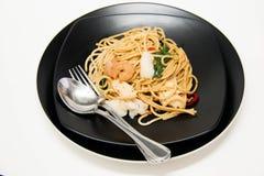 Italian recipe: spaghetti and seafood Royalty Free Stock Image