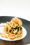 Italian recipe: spaghetti and seafood Royalty Free Stock Images