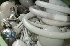 Italian recycling center - neon lamps Stock Image