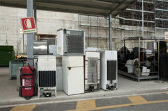 Italian recycling center (Raee) - Appliances Stock Photos