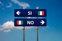Italian referendum. Two road signs and italian referendum Royalty Free Stock Photos