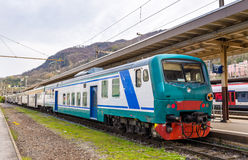 Italian regional train at Swiss station Chiasso Stock Photography