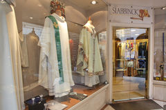 Italian religious clothing store Royalty Free Stock Photography