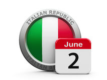 Italian Republic Day. Emblem of Italy with calendar button - The Second of June - represents the Italian Republic Day, three-dimensional rendering, 3D Stock Photo