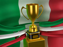 Italian Republic flag with gold cup Royalty Free Stock Image