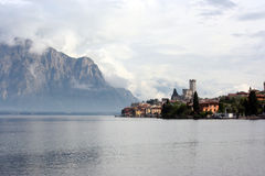 Italian resort Malcesine in clouds Stock Photo