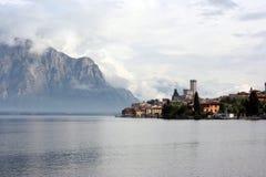 Italian resort Malcesine in clouds Stock Photo