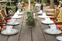 Italian restaurant. A prettily spread table, on a sunny terrace, in a hotel complex in Rust, Germany stock images