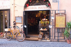 Italian restaurant. Traditional restaurant that offers pizza and spaghetti in the center of Rome Royalty Free Stock Image