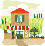 Italian Restaurant. Cartoon illustration of an Italian restaurant and landscape in the background. Eps10 Stock Image
