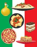 Italian restaurant dishes on italian flag background stock illustration