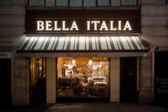 Italian restaurant in London. People have dinner at italian restaurant Bella Italia in Regents Street in London on November 2, 2013. London is regarded as one of Royalty Free Stock Images