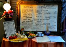 Italian restaurant menu. Typical Italian restaurant menu in Florence , Italy . Tuscan menu with traditional food Stock Images