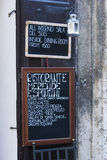 Italian restaurant menu board Royalty Free Stock Photo