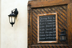 Italian restaurant menu board Stock Photography