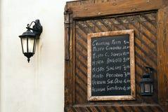 Italian restaurant menu board Stock Photography