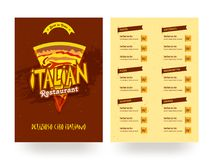 Italian Restaurant menu card template or flyer design. Italian Restaurant menu card flyer design or template stock illustration