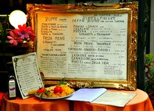 Italian restaurant menu on a table  Stock Photo