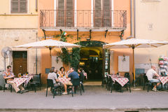 Italian restaurant old architecture and street. Rome, Italy - August 10, 2016 : Italian restaurant old architecture and street Royalty Free Stock Images