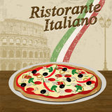 Italian Restaurant poster. Italian Restaurant vintage grunge poster with pizza and colloseum, vector illustration Royalty Free Stock Photo
