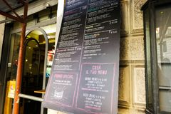 An Italian restaurant`s menu table. Handwritten blackboard. Aesthetic image. Italy. Rome. July 2015. Royalty Free Stock Images