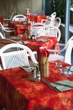 Italian restaurant tables stock image