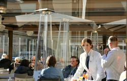 Italian restaurant with tourists , Florence, Italy royalty free stock images