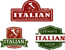Italian Restaurant Vintage Stamps. Vintage style Italian dining distressed stamps Stock Photos