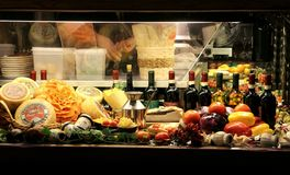Italian restaurant window in Florence, Italy royalty free stock image