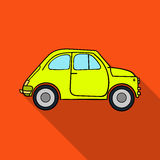 Italian retro car from Italy icon in flat style isolated on white background. Italy country symbol stock vector. Italian retro car from Italy icon in flat style Royalty Free Stock Photos