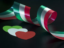 Italian ribbon and hearths Royalty Free Stock Images