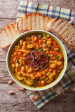 Italian ribollita vegetable soup close up in a bowl. vertical to Stock Image