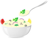 Italian rice with vegetables vector illustration Royalty Free Stock Image