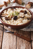Italian rice with wild mushrooms close up on the table. vertical. Italian rice with wild mushrooms close up in a bowl on the table. vertical Stock Photo