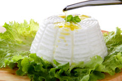 Italian ricotta green salad end basil Stock Photo