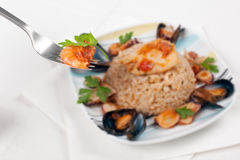 Italian Risotto alla Pescatora Royalty Free Stock Photo