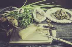 Italian risotto ingredients Royalty Free Stock Images