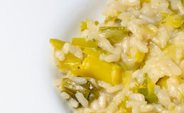 Italian Risotto with leek. Typical italian risotto with leek, onion, parmesan Stock Photos