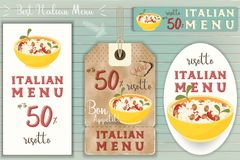Italian Risotto Stickers Set. On Blue Wooden Background in Retro Style. Vector Illustration Royalty Free Stock Photography