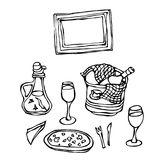 Italian Ristorante Table. Pizza, Wine in an Ice Bucket, Wine Glasses, Spicy Oil with Pepper, Fork, Knife, Checkered Towel and Fram. E. Pizza Menu. Hand Drawn Royalty Free Stock Photos