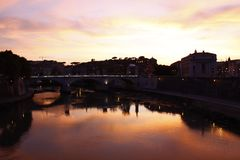 The Italian river, Tiber Royalty Free Stock Photos
