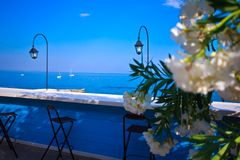 Italian Riviera bar on the  Liguria. N Sea Royalty Free Stock Photos