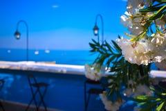 Italian Riviera bar . Liguria. Italian Riviera bar on the  Ligurian Sea Stock Photography