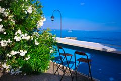 Italian Riviera bar , Liguria. Italian Riviera bar on the Ligurian Sea Stock Images