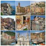 Italian Riviera Cinque Terra Collage stock photography