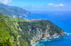 Italian Riviera in Cinque Terre National Park. Beautiful coastal landscape located on the Italian Riviera in Cinque Terre National Park. You can se two of the Stock Images