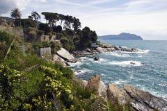 Italian riviera coast. A beautiful blue sea and Portofino's mount on background stock photos