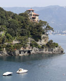 Italian Riviera picture. A corner of italian riviera with a beautiful castle over the sea Stock Image