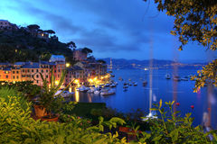 Italian riviera, Portofino, Italy. Night view of the small resort town of Portofino in Liguria province of Italy. Portofino town is located on the tip of a
