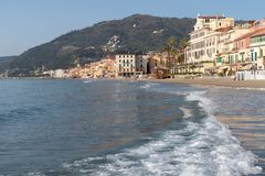 Italian Riviera. Seafront at the resort of Alassio Royalty Free Stock Images
